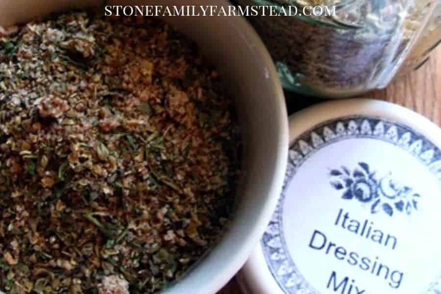 """herbs in a bowl with a lid that says """"italian dressing mix"""" - Perfect Homemade Croutons from Your Old Stale Bread - Stone Family Farmstead"""