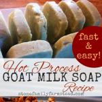 """homemade soaps with the title """"hot process goat milk soap recipe"""""""