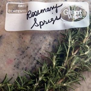 rosemary sprigs in a plastic zipper bag