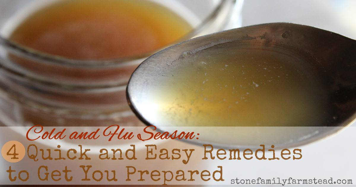 """spoon of ginger syrup with jar in the background with the title """"Cold and Flu Season: 4 Quick and Easy Remedies to Get You Prepared"""""""