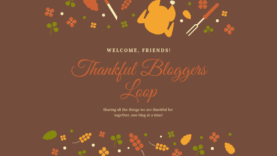 "brown background with turkey and other thanksgiving graphics with the title ""thankful bloggers loop"""