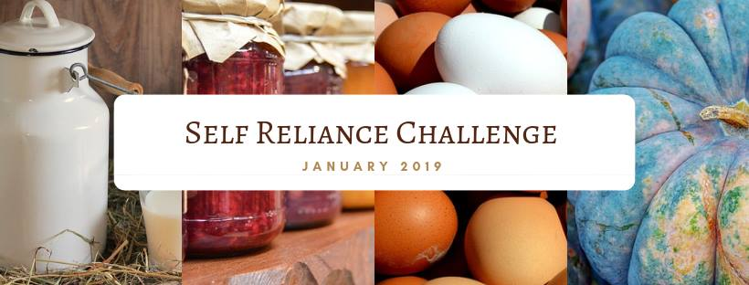 farm fresh eggs and home-canned items with the title Self Reliance Challenge January 2019