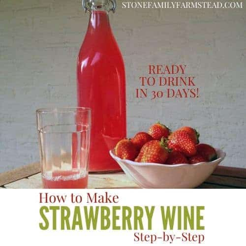 "wine in a glass and in a bottle next to a bowl of fresh strawberries with the title ""How to Make Strawberry Wine Step-by-Step - Stone Family Farmstead"""
