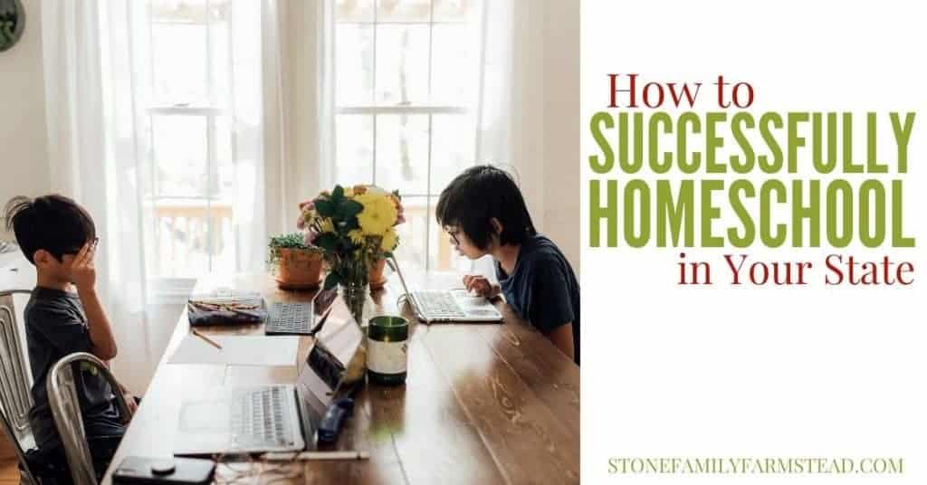 """two boys sitting at a table with computers and the title """"How to Successfully Homeschool in Your State - Stone Family Farmstead"""""""