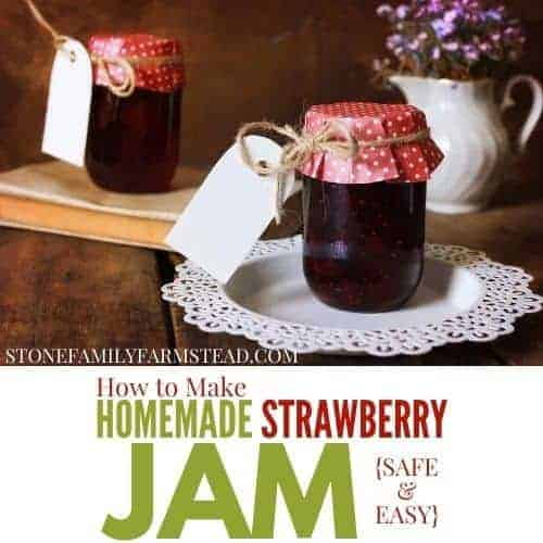 homemade strawberry jam in a jar with a gift tag
