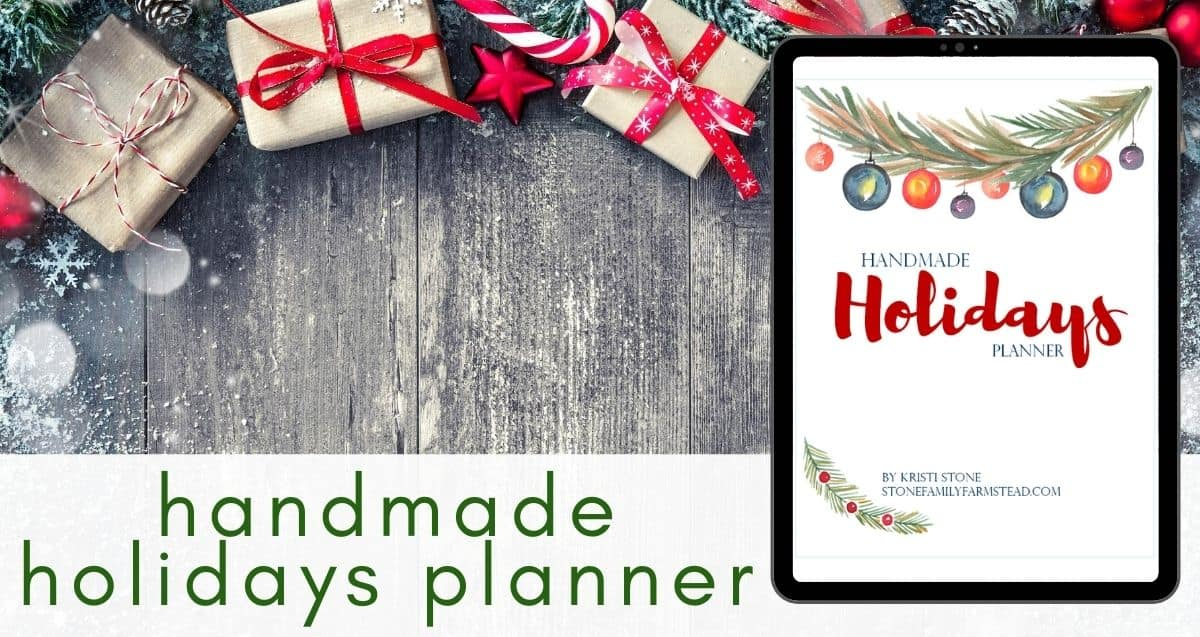 Christmas gifts against a wood background with a photo of the Handmade Holidays Christmas Planner