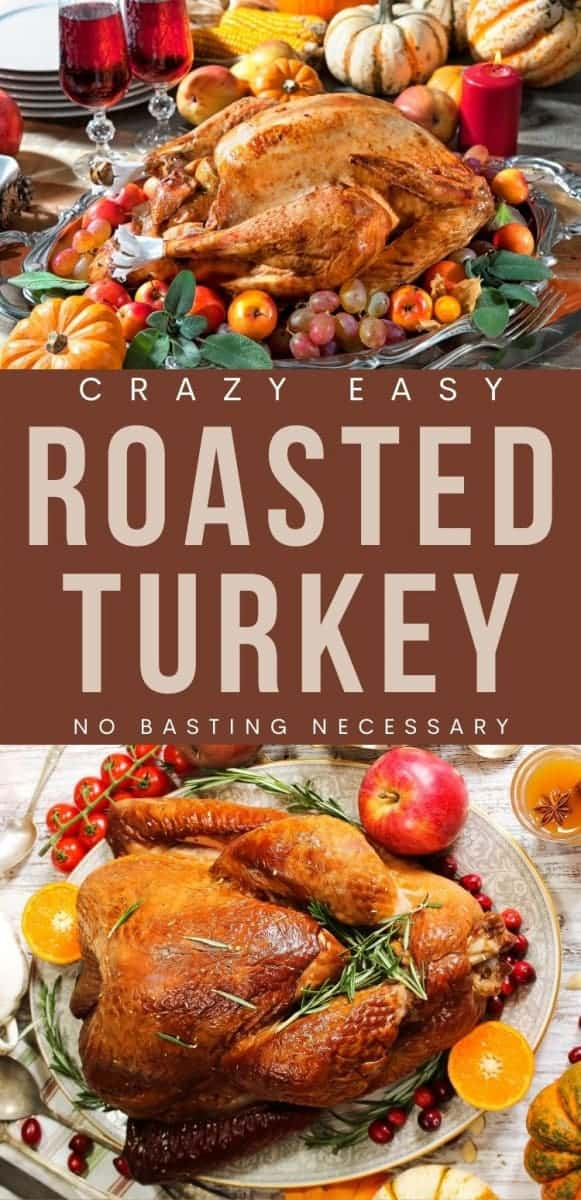 roasted turkey with fruit and vegetables around it