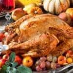 roast turkey with fruit around it