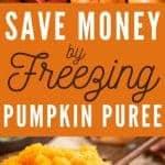 whole pumpkins and a bowl of pureed pumpkin